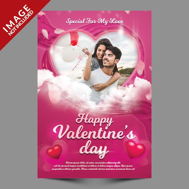 Valentine Photo Makieta Ulotki Premium Psd