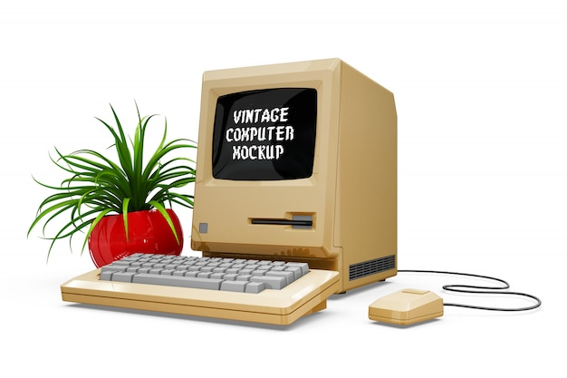 Vintage computer mock-up isolated Darmowe Psd