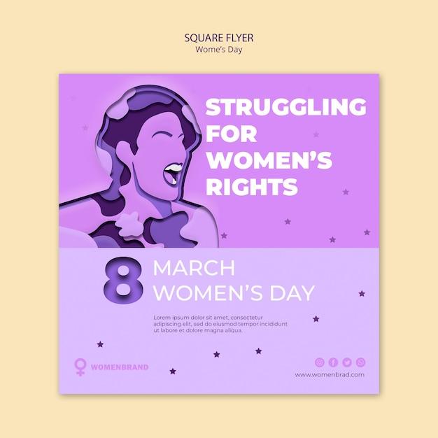 Walcząc O Prawa, Kwadratową Ulotkę Z Okazji Dnia Kobiet Darmowe Psd
