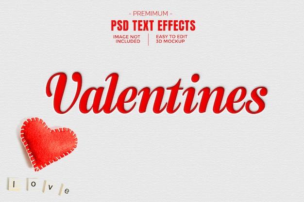 Walentynki 3d Efekt Tekstowy Makieta Premium Psd