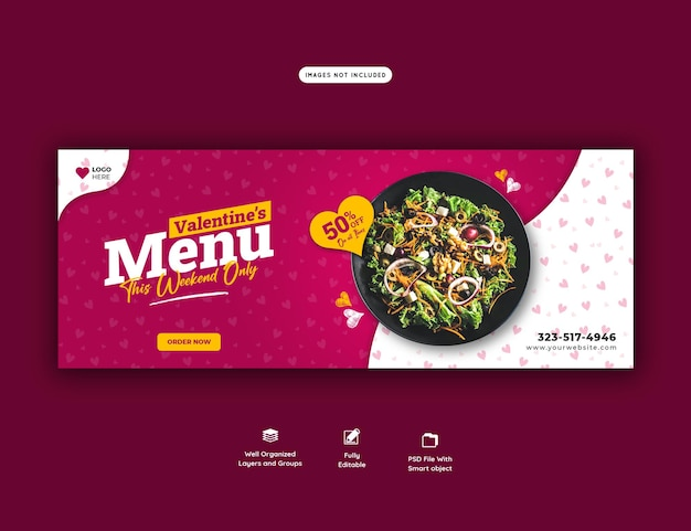 Walentynki Menu żywności I Szablon Okładki Facebook Restauracji Premium Psd