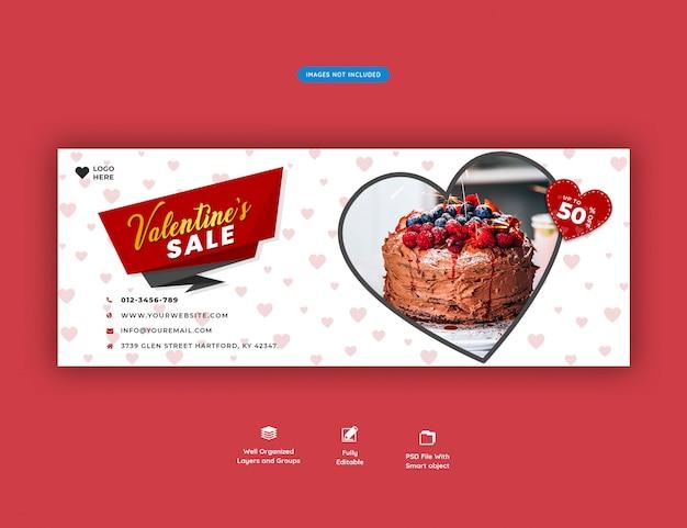 Walentynkowy Sztandar Na Okładce Na Facebooku Premium Psd