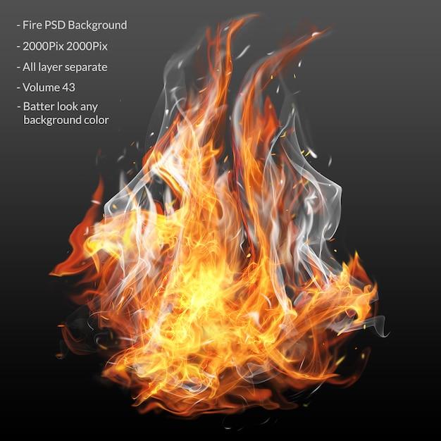 Warstwa Efektu Płomieni Ognia Premium Psd