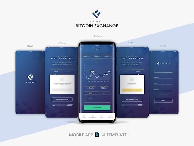 Warstwowy Szablon Układu Ekranów Aplikacji Mobilnych Psd Do Handlu Kryptowalutami, Kupowania I Sprzedawania Usługi Bitcoin. Premium Psd