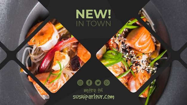 Web banner szablon dla japońskiej restauracji Darmowe Psd