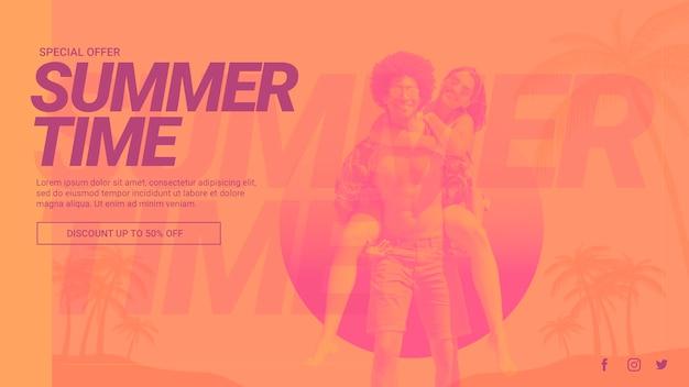 Web banner szablon z koncepcją lato Darmowe Psd