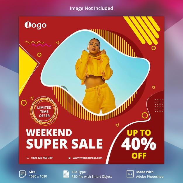 Weekendowa super sprzedaż banner społecznościowy Premium Psd