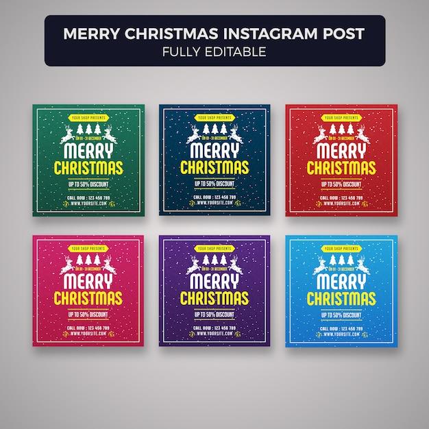 Wesołych świąt Bożego Narodzenia Mediów Społecznych Szablon Transparent Post Premium Psd