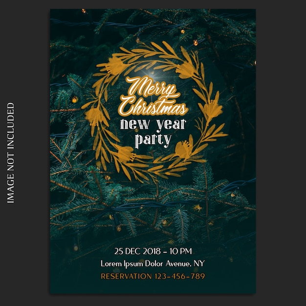 Wesołych świąt i szczęśliwego nowego roku 2019 makieta zdjęcie i zaproszenie lub szablon ulotki Premium Psd