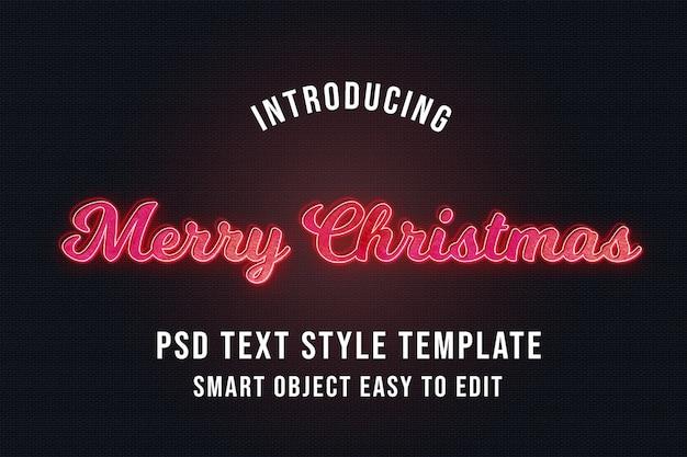 Wesołych świąt neonowe efekty tekstowe 3d Premium Psd
