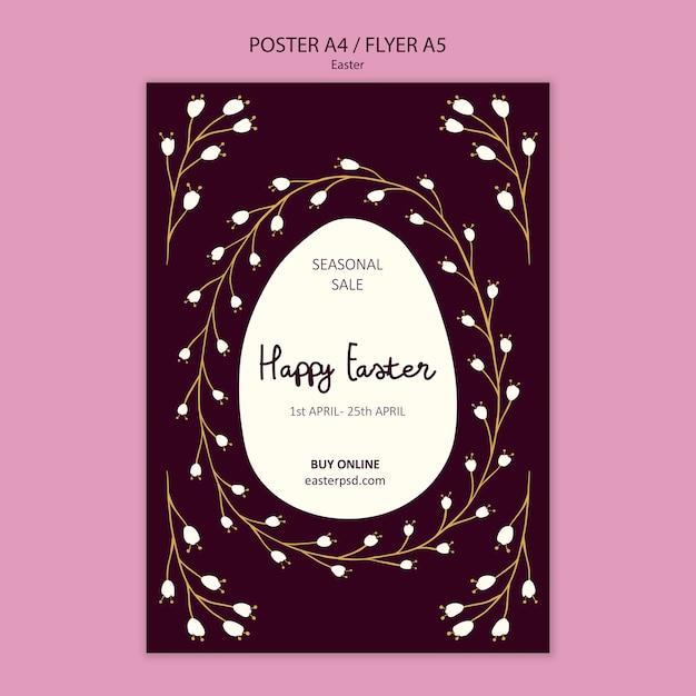 Wesołych świąt Wielkanocny Plakat Szablon Sprzedaży Darmowe Psd