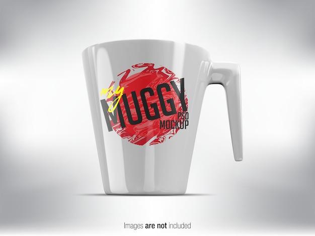 White mug psd mock-up widok z przodu Premium Psd