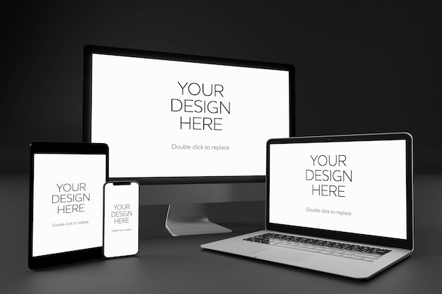 Widok makiety pulpitu, laptopa, smartfona i tabletu Premium Psd