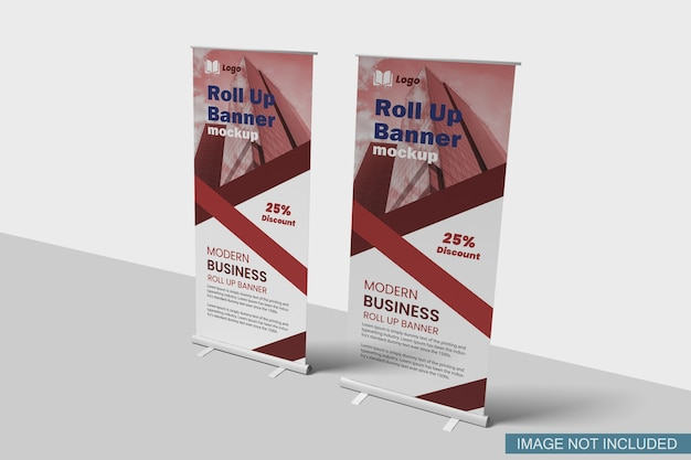 Widok Z Boku Makiety Roll-up Banner Premium Psd