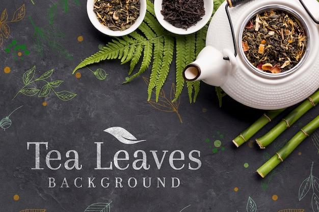 Widok Z Góry Ceramiczny Dzbanek Do Herbaty Z Przyprawami Darmowe Psd