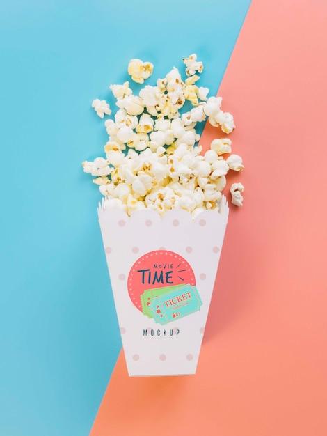 Widok Z Góry Kubek Popcornu Darmowe Psd