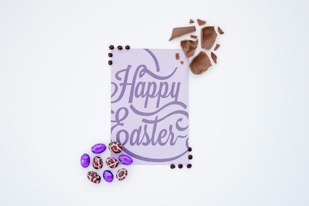 Widok z góry makieta Wielkanoc z karty Darmowe Psd