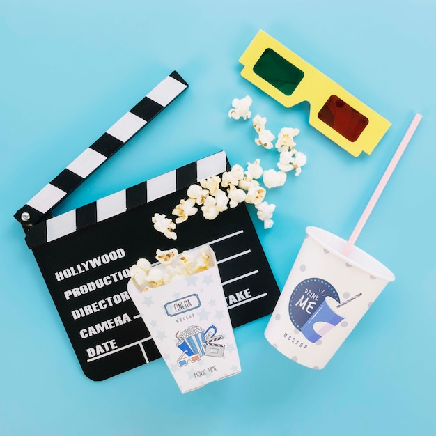Widok Z Góry Sody I Szklanki Popcornu Do Kina Darmowe Psd