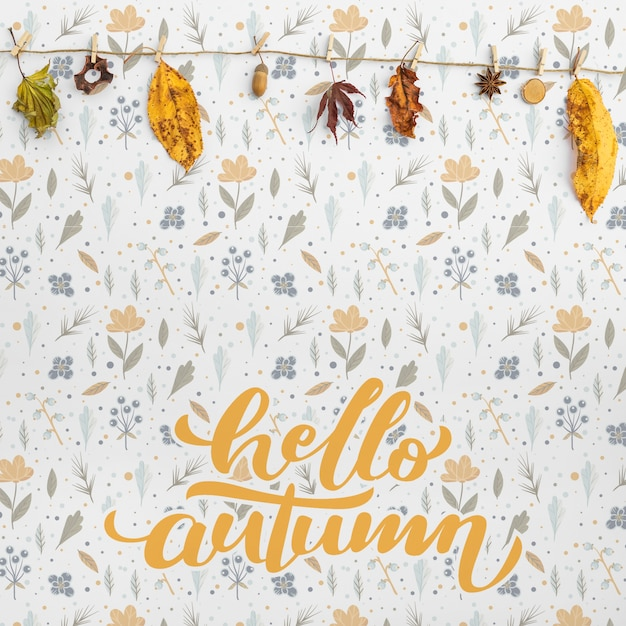 Widok z przodu cześć jesieni i liści Darmowe Psd