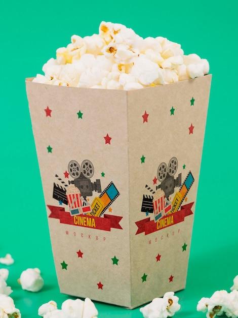 Widok Z Przodu Filiżanki Popcornu Darmowe Psd