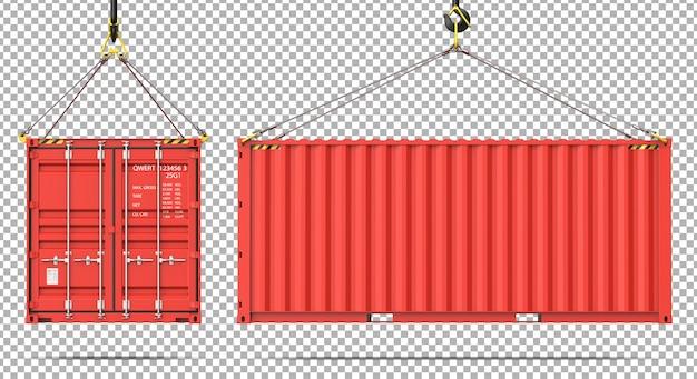Widok Z Przodu Iz Boku Kontenera ładunkowego Wiszącego Na Haku Dźwigu Premium Psd