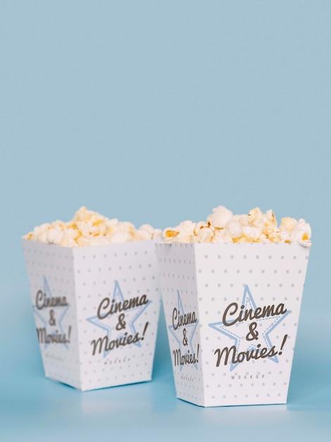 Widok Z Przodu Kina Popcorn Z Miejsca Kopiowania Darmowe Psd
