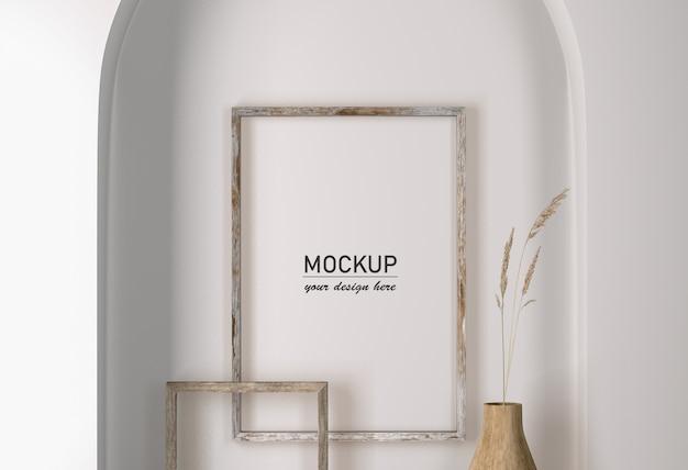 Widok Z Przodu Na ścianę Z Dekoracją Ramek I Wazon Z Kwiatkiem Premium Psd