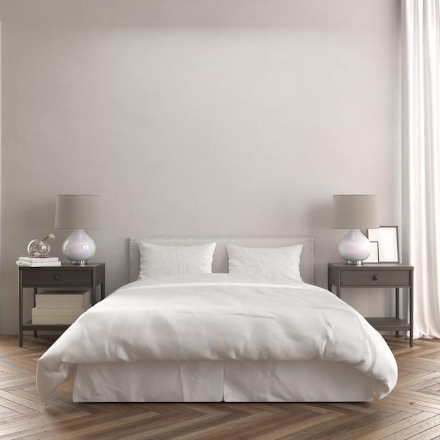Widok Z Przodu Pokoju Z łóżkiem I Nowoczesną Drewnianą Makietą Stolików Nocnych Darmowe Psd