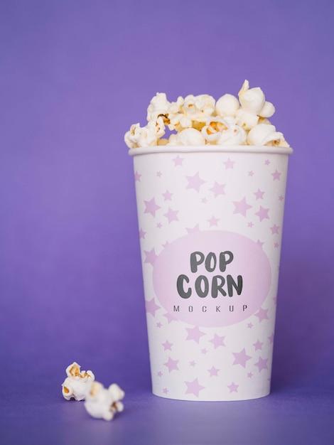 Widok Z Przodu Popcornu Do Kina W Filiżance Darmowe Psd