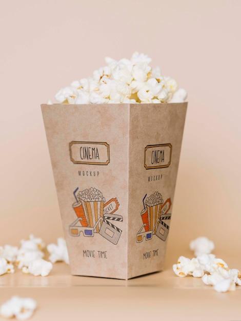 Widok Z Przodu Popcornu Kina W Pucharze Darmowe Psd