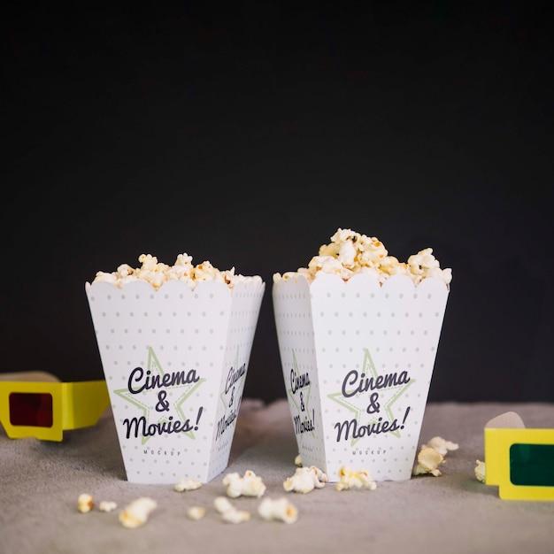 Widok Z Przodu Szklanki Kinowe I Kubki Popcornu Darmowe Psd