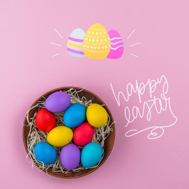 Wielkanocny Dzień Makieta Z Gniazdem Kolorowych Jaj Darmowe Psd