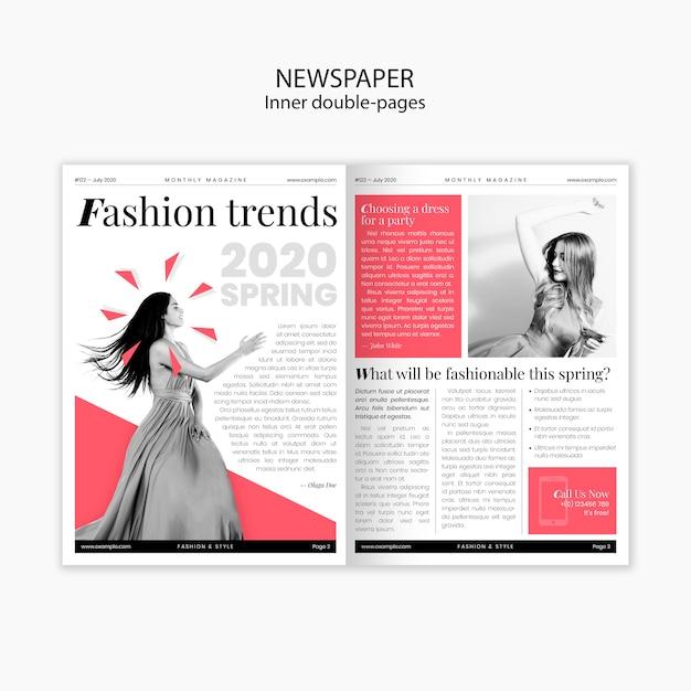 Wiosenne Trendy W Modzie Wewnętrzna Dwustronicowa Gazeta Darmowe Psd