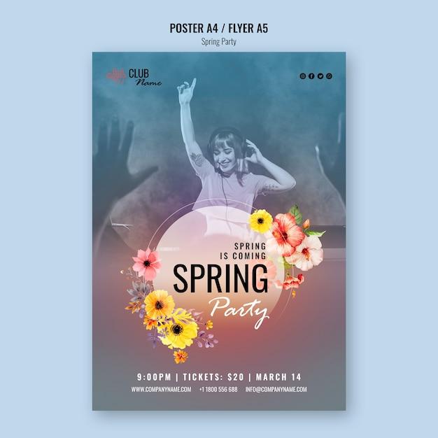 Wiosenny Plakat Ze Zdjęciem Darmowe Psd