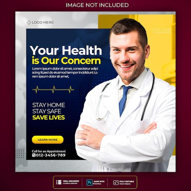 Wirus Corona Ostrzegający Szablon Ulotki Post Mediów Społecznościowych Kwadratowych Premium Psd