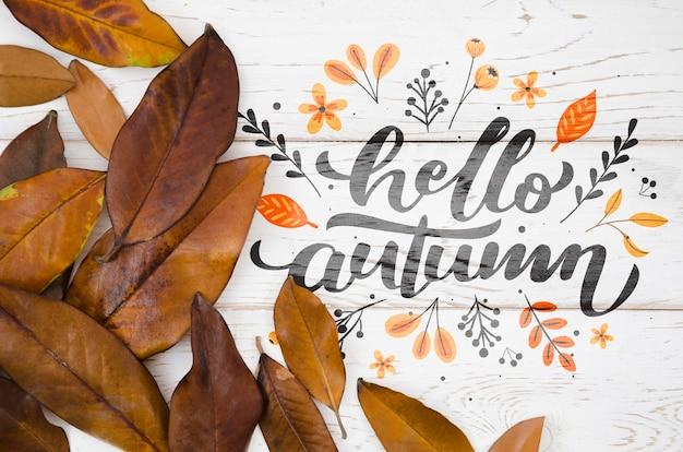 Witam Jesienny Cytat Z Brązowymi Liśćmi Darmowe Psd