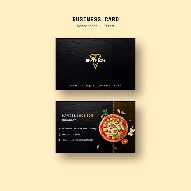 Wizytówka do restauracji z pizzą Darmowe Psd