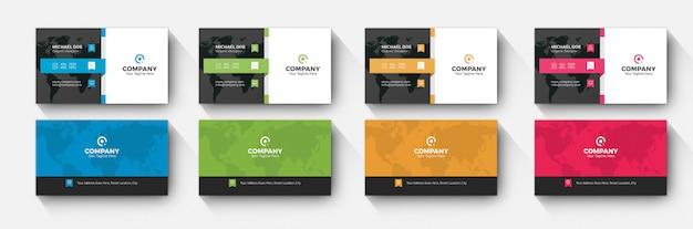 Wizytówka firmy 4 wariacja kolorów Premium Psd