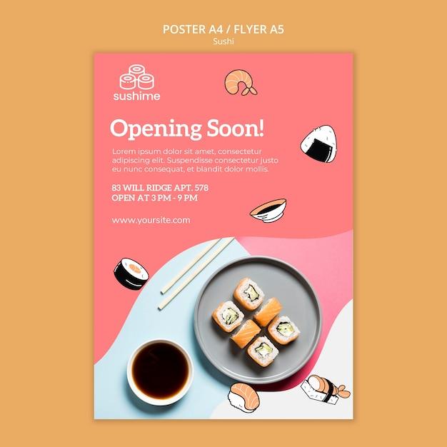 Wkrótce Otwarcie Szablonu Ulotki Sushi Darmowe Psd