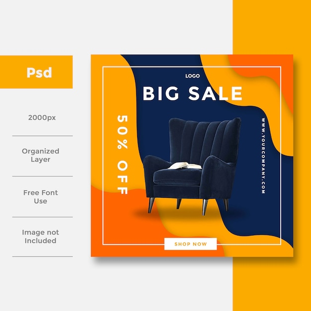 Wnętrze Domu Układ Reklamy W Mediach Społecznościowych Premium Psd