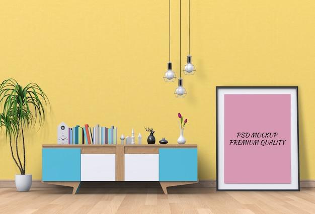 Wnętrze salonu z kredensem i pustym plakatem makiety. Premium Psd
