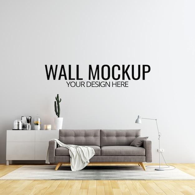 Wnętrze ściany pokoju dziennego makieta z meblami i dekoracji Premium Psd