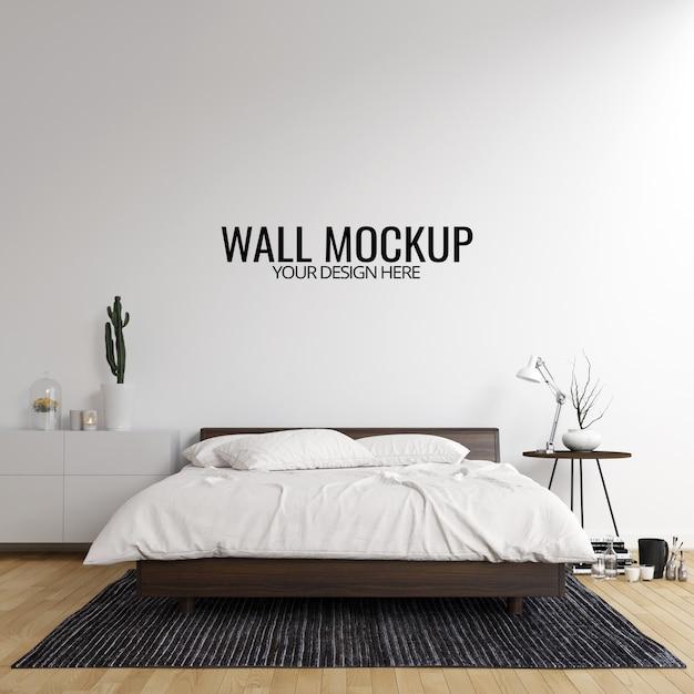 Wnętrze sypialni ściany makieta tło Premium Psd