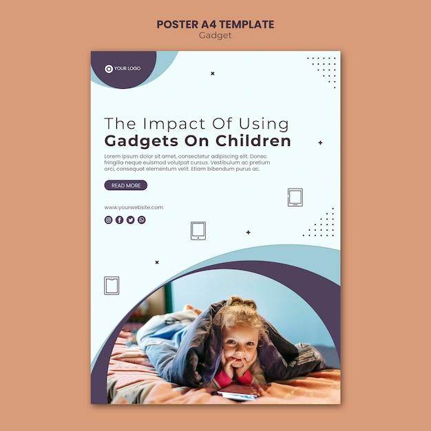 Wpływ Gadżetu Na Styl Szablonu Plakatu Dla Dzieci Darmowe Psd
