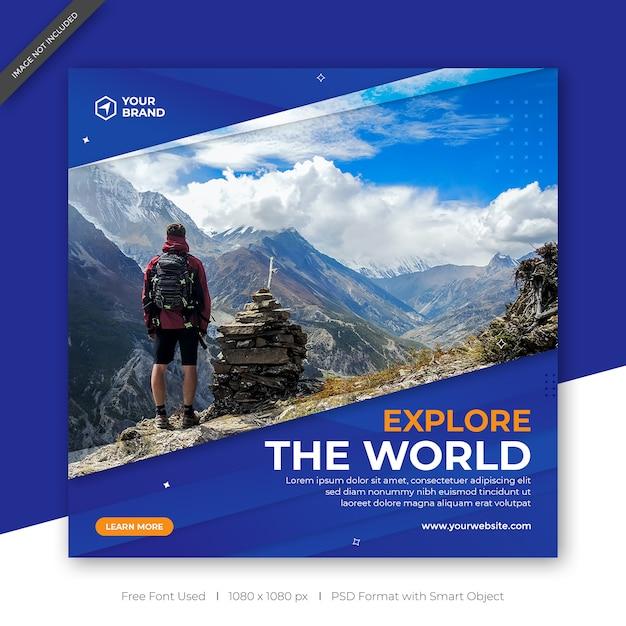 Wycieczki I Podróże Instagram Post Banner Lub Szablon Premium Psd