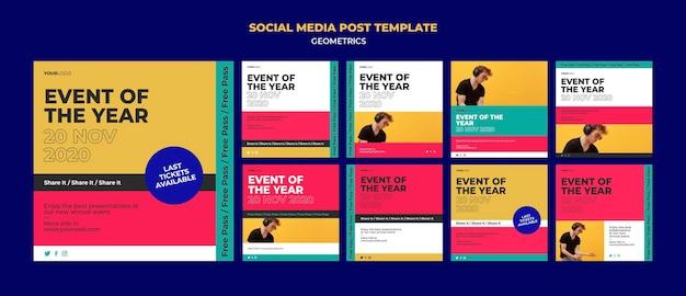 Wydarzenie Roku Szablon Postu W Mediach Społecznościowych Premium Psd