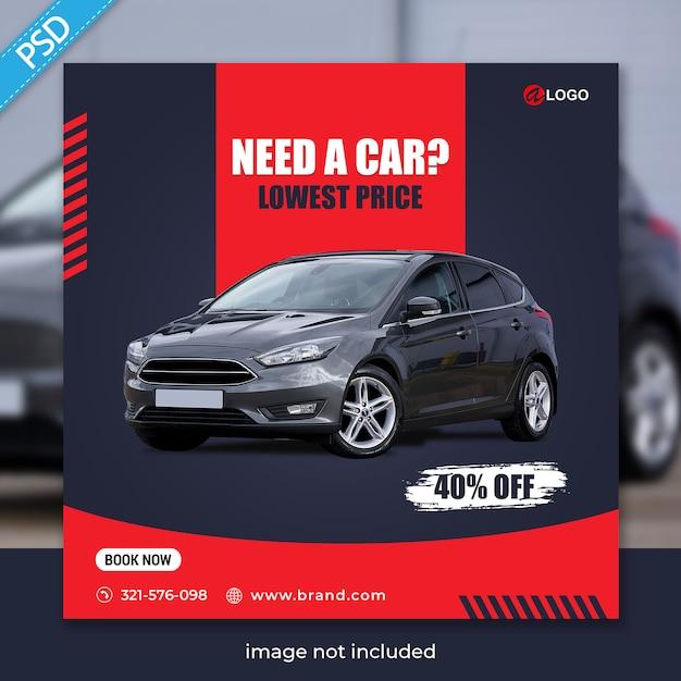 Wynajmij Samochód Na Szablon Banera Społecznościowego Instagram Post Premium Premium Psd