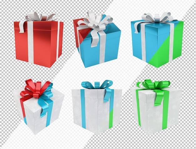 Wytnij świąteczny prezent w edytowalnych kolorach Premium Psd