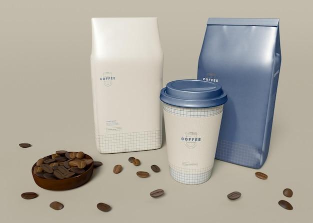Zabierz Filiżankę Kawy I Makietę Papierowej Torby Premium Psd