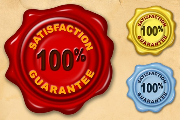 Zadowolenie gwarancji wosku pieczęć psd i png Darmowe Psd
